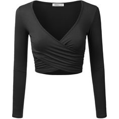 Doublju Womens Long Sleeve Surplice Wrap Crop Top ($9.99) ❤ liked on Polyvore featuring tops, shirts, crop tops, long-sleeve shirt, long sleeve tops, surplice crop top, cropped tops and wrap shirt