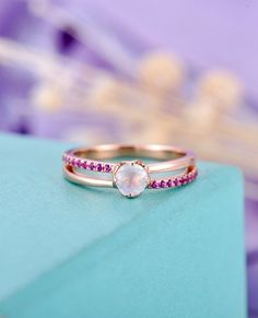 Moonstone Engagement Ring Rose gold Unique engagement ring Gift for Women Wedding Pink sapphire Matching Anniversary Bridal set Jewelry - BBBGEM Bridesmaid Jewelry Sets, Bridal Jewelry Sets, Bridal Sets, Unique Jewelry, Handcrafted Jewelry, Diamond Engagement Rings, Engagement Sets, Dream Ring, Pink Sapphire