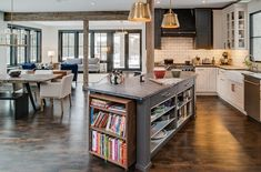 """A New Definition for """"Up North"""" Style - contemporary - kitchen - other metro - Bay Cabinetry & Design Studio Grey Kitchen Island, Kitchen Islands, Cookbook Shelf, Cookbook Storage, Kitchen Storage, Cozy Living Spaces, Living Area, Living Room, Ideas Hogar"""
