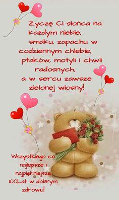 Birthday Cheers, Happy Birthday Wishes, Birthday Cards, Teddy Bear, Skinny, Teddy Bear Hug, Polish Sayings, Gifts For Birthday, Bday Cards