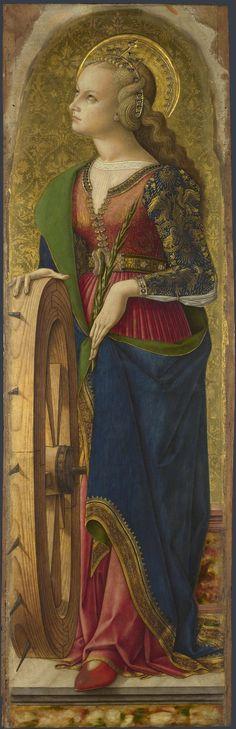 Carlo Crivelli (1435-1495) ~ Polyptych of San Domenico. Saint Catherine of Alexandria (detail). National Gallery, London.
