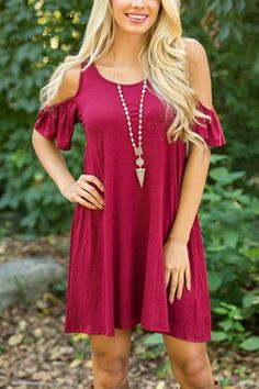 Burgundy Cold Shoulder Loose Mini Dress