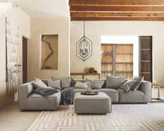 Charming Living Room Furniture Layout ~ Discover living room furniture in classic and contemporary styles. Shop sectional sofas, ottomans, media consoles, accent tables and daybeds. Furniture, Spacious Living Room, Living Room Diy, Living Room Throws, Living Room Furniture Layout, Modern Furniture Living Room, Arhaus Living Room, Throw Pillows Living Room, Furniture Layout