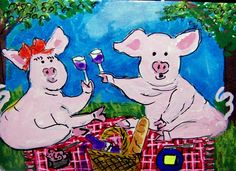 ACEO TW JUL Picnic theme Pignic - A Loaf pigs signed Original whimsical cartoon  #Miniature  #aceo #art #ebay #pigs #picnic