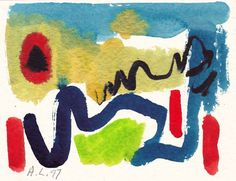 original  LABEDZKI abstract WATERCOLOR paintings art TRIBAL MYSTERY #22 5.5x7 in #Abstract