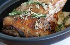 Leg of Lamb in the Slow Cooker (with Garlic and Rosemary)