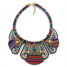 Women's Boho Style Collar Necklace with Colorful Insets //Price: $9.95 & FREE Shipping //     #womanbags