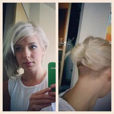 Nape undercut and some silvery platinum on an asymmetric short bob cut.