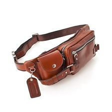 Men's Genuine Leather Cowhide Fanny Waist Pack Brown Bag Travel Multi Pocket