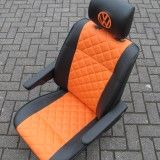 VW T4 Campervan Cab Seat with Bentley Stitch on Orange Vinyl.  Cube Camper Upholstery