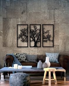 Tree of Life 3 Pieces Metal Wall Art, Modern Rustic Wall Decor, Living Room Home Decor, Special Design New Home Gift, Black Metal Wall Art Metal Bird Wall Art, Outdoor Metal Wall Art, Metal Sculpture Wall Art, Metal Wall Art Decor, Abstract Metal Wall Art, Rustic Wall Decor, 3 Piece Wall Art, 3 Panel Wall Art, Country Decor