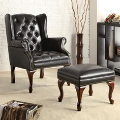 Traditional Durable Cozy Black Faux Leather Button Tufted Wing Chair Ottoman Set | eBay