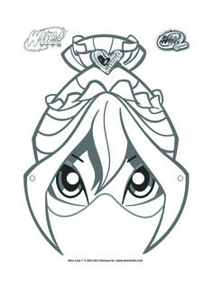 Bloom mask to color and decorate for winx club birthday party.