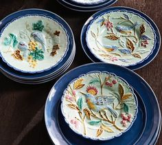 Majolica Bird Salad Plate Mixed Set of 4 | Pottery Barn & Carynthum Flower Salad Plate | Salad plates Earthenware and Flatware