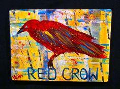 ~RED CROW~bird painting Maine FOLK ART outsider~COASTWALKER   eBay