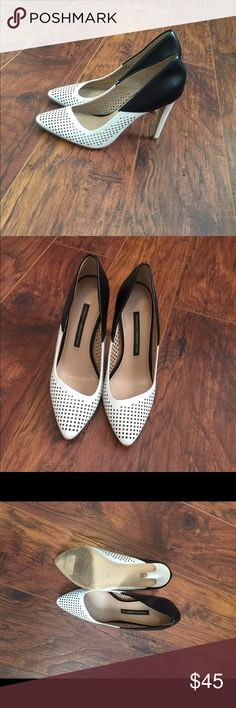 French Connection Heels Worn once. No scuffs or damage. Black leather and white man made material. Very nice heels French Connection Shoes Heels