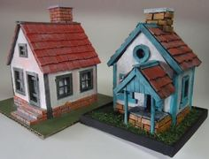 2 Mini House Paper Models for Diorama Free Templates Download