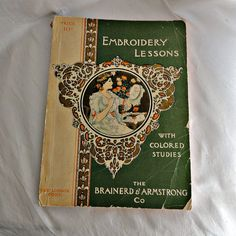 Embroidery Lesson Sewing Book 1901 Brainerd & by SilverFoxAntiques, $85.00