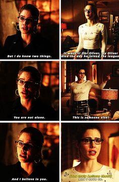 "#Arrow 2x23|3x22 - ""Because I know that that wasn't Oliver"" -- Felicity"