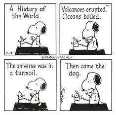First Appearance: March 15th, 1985 #peanutsspecials #ps #pnts #schulz #snoopy #history #world #volcanoes #erupted #oceans #boiled #universe #turmoil #dog www.peanutsspecials.com