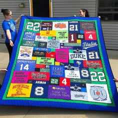"""30 Likes, 2 Comments - Too Cool T-shirt Quilts (@toocoolquilts) on Instagram: """"It takes everyone to photograph a quilt! Check out this beautiful T-shirt quilt with a double…"""""""
