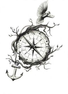 Turn the bird into an eagle, add the globe to the compass...
