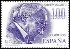 Joaquín Rodrigo was so important he got a stamp with his picture on it.