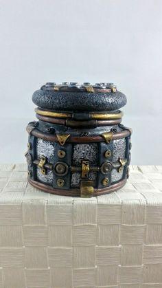 Steampunk Stash Jar - polymer clay industrial jar - pinned by pin4etsy.com