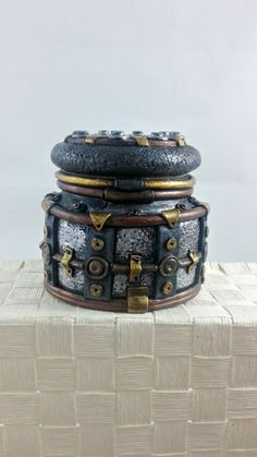 Steampunk Stash Jar - polymer clay industrial jar