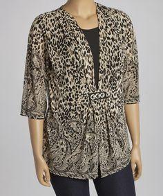 Loving this Beige Leopard Layered Open Cardigan - Plus on #zulily! #zulilyfinds
