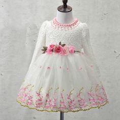 Elegant Girl Dress Girls 2017 Spring Fashion Pink Lace Big Bow Party Tulle Flower Princess Wedding Dresses Baby Girl dress,3-9Y