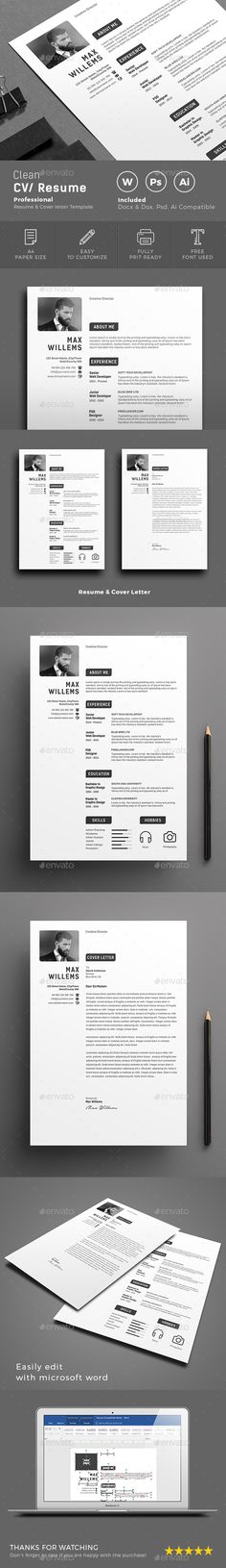 Resume CV + Cover Letter by ProGraphicDesign on @creativemarket