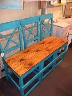 Bench created from three chairs Bench Furniture, Diy Pallet Furniture, Repurposed Furniture, Furniture Makeover, Vintage Furniture, Painted Furniture, Chair Bench, Old Bed Frames, Shabby Home