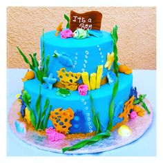 under the sea baby shower cake on pinterest under the sea baby