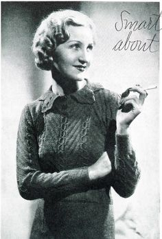 66330b7d85928 The Vintage Pattern Files  1930s Knitting - Smart Points About Collars  Jumper.