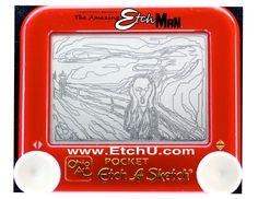 """Classic art in Etch A Sketch, """"The Scream"""", original by Edvard Munch. The Scream Etch A Sketch Art, Art Sketches, Scream, Le Cri, Deviantart, Fine Art, Humor, Cool Stuff, Frame"""