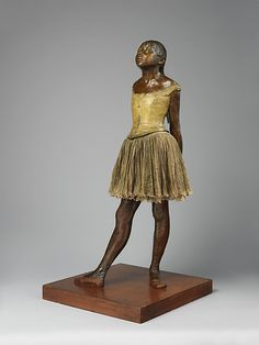 #MetKids Fun Fact: When the original version of this sculpture was first displayed, it wore a wig made of horsehair. | Edgar Degas (French, 1834–1917). The Little Fourteen-Year-Old Dancer, model executed ca. 1880, cast 1922. The Metropolitan Museum of Art, New York. H. O. Havemeyer Collection, Bequest of Mrs. H. O. Havemeyer, 1929 (29.100.370)