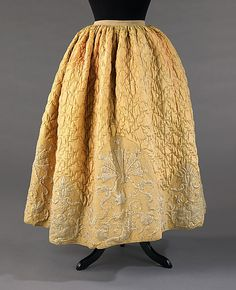 Petticoat 1740-60 Swedish silk, cotton Quilted petticoats were a part of informal dress throughout the 18th century. Initially, this type of petticoat served for warmth and to give shape to the lower half of the body in a way which would disguise the wearer's legs. As the skirts began to open in the front in the early 18th century women chose more decorative quilted petticoats to add another layer of detail.