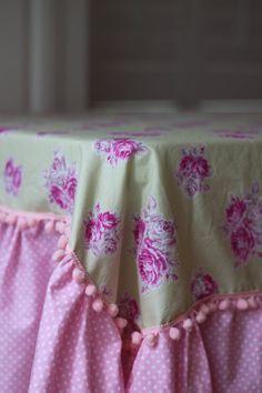 Ruffled Table Cloth Shabby Chic Custom Made By SimplyShabbyLiving, $195.00
