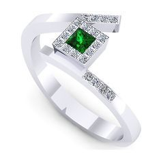 Inel logodna L129ASM cu smarald si diamante