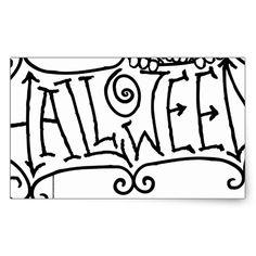 Happy Halloween Cartoon Sign Rectangular Sticker #halloween #holiday #creepyhollow #stickers