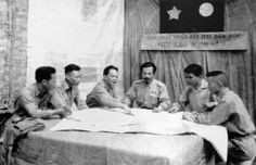 General Vo Nguyen Giap and Prince Souphanouvong discussing the Upper Laos Campaign 1953