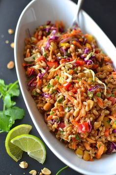 Use maple syrup in place of honey to make this vegan. Crispy vegetables, crunchy peanuts, creamy dressing and chewy farro make this Rainbow Thai Farro Salad a perfect lunch or side dish. Farro Recipes, Vegetarian Recipes, Cooking Recipes, Healthy Recipes, Vegetarian Lunch, Healthy Salads, Healthy Eating, Healthy Breakfasts, Clean Eating