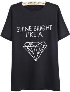 Black Short Sleeve Letters Diamond Print T-Shirt - Sheinside.com #Rihanna
