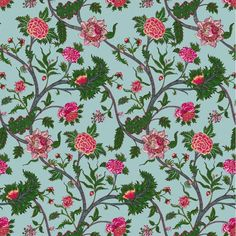 Gaston y Daniela Palampore Azul Fabric - - Chapter I - Prints Collection Green Fabric, Floral Fabric, Print Finishes, Wallpaper Size, Cole And Son, Fabric Houses, Gaston, Fabric Samples, Country Of Origin