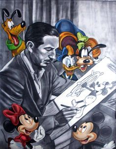 Walt Disney With Some Of His Disney Creations As They Watch Him Draw Steamboat Willy