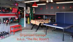 Check out this VERY organized and beautiful garage-turned into a Rec Room with lots of great organizing.