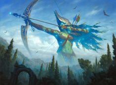 Nylea, God of the Hunt, by Chris Rahn | 14 x 18 in., oil on hardboard For Magic: the Gathering, ©Wizards of the Coast