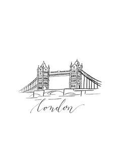 Print / LONDON / Tusche von JEANNETTE MOKOSCH auf DaWanda.com