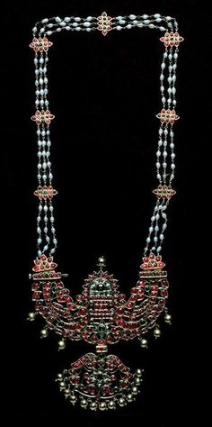 Necklace, 19th century, gold, pearls, diamonds, rubies, and emeralds,  India, Tanjore